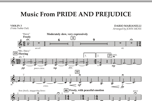 John Moss Music from Pride & Prejudice - Violin 3 (Viola T.C.) sheet music notes and chords. Download Printable PDF.