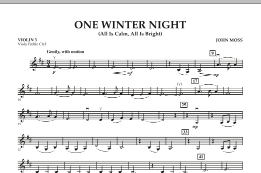 John Moss One Winter Night (All Is Calm, All Is Bright) - Violin 3 (Viola Treble Clef) sheet music notes and chords. Download Printable PDF.