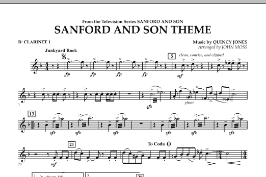 John Moss Sanford And Son Theme - Bb Clarinet 1 sheet music notes and chords. Download Printable PDF.