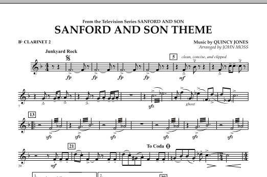 John Moss Sanford And Son Theme - Bb Clarinet 2 sheet music notes and chords. Download Printable PDF.