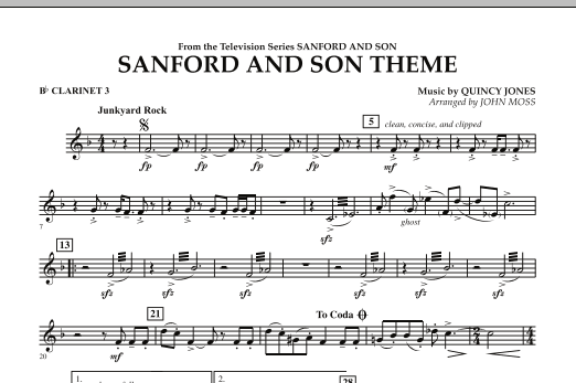John Moss Sanford And Son Theme - Bb Clarinet 3 sheet music notes and chords. Download Printable PDF.