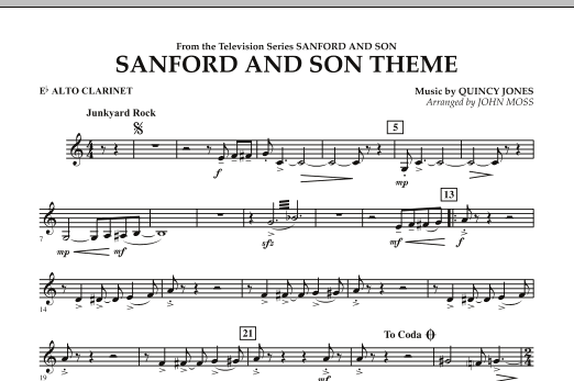 John Moss Sanford And Son Theme - Eb Alto Clarinet sheet music notes and chords. Download Printable PDF.