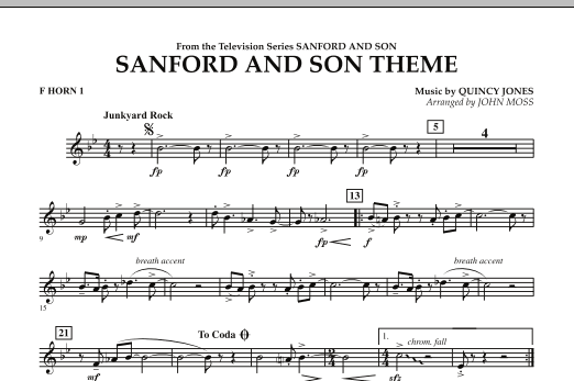 John Moss Sanford And Son Theme - F Horn 1 sheet music notes and chords. Download Printable PDF.