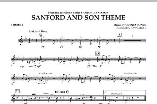John Moss Sanford And Son Theme - F Horn 2 sheet music notes and chords. Download Printable PDF.