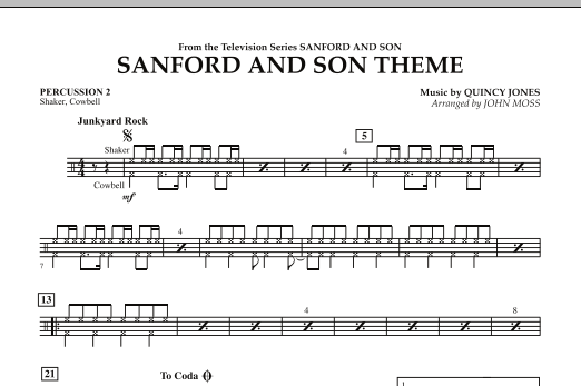 John Moss Sanford And Son Theme - Percussion 2 sheet music notes and chords. Download Printable PDF.