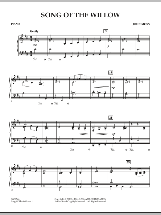 John Moss Song Of The Willow - Piano sheet music notes and chords. Download Printable PDF.