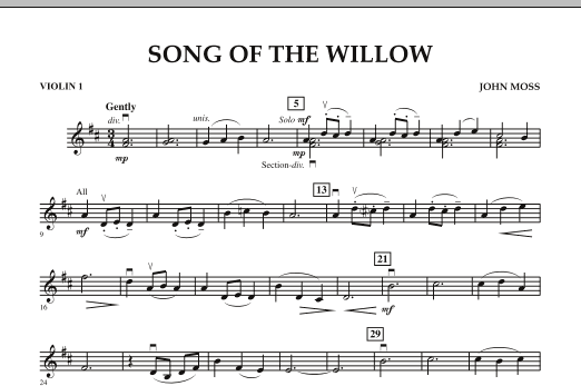 John Moss Song Of The Willow - Violin 1 sheet music notes and chords. Download Printable PDF.
