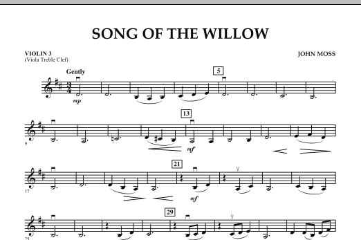 John Moss Song Of The Willow - Violin 3 (Viola T.C.) sheet music notes and chords. Download Printable PDF.