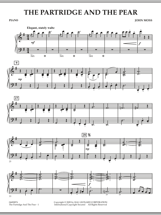 John Moss The Partridge and the Pear - Piano sheet music notes and chords. Download Printable PDF.