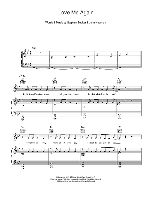 John Newman Love Me Again sheet music notes and chords. Download Printable PDF.