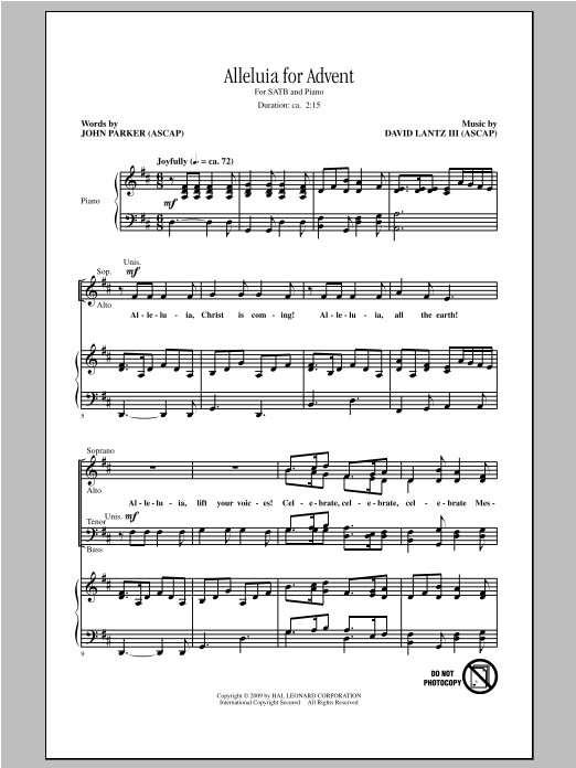 David Lantz III Alleluia For Advent sheet music notes and chords. Download Printable PDF.