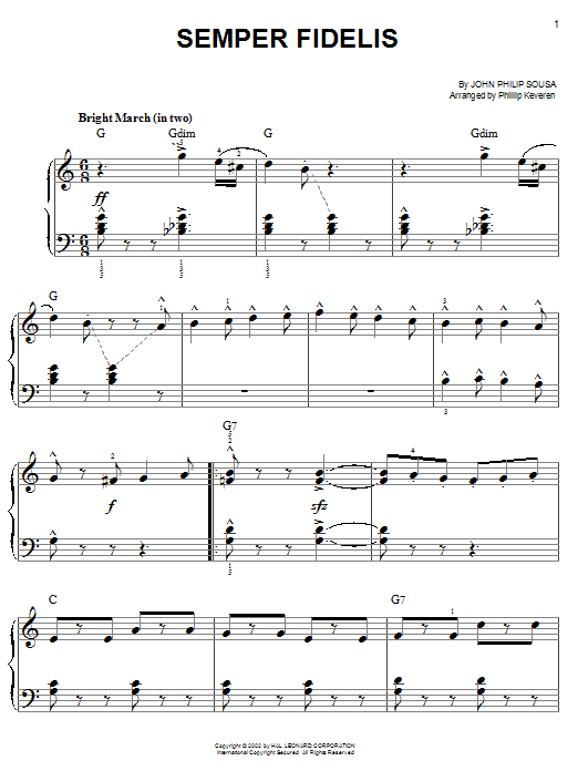 John Philip Sousa Semper Fidelis sheet music notes and chords. Download Printable PDF.