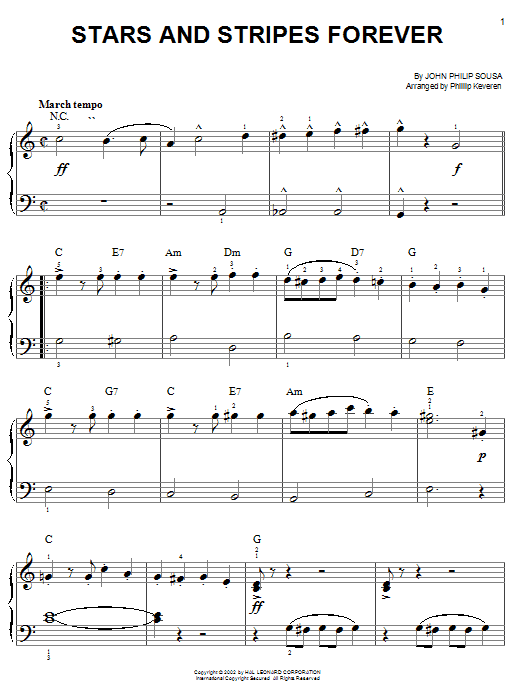 John Philip Sousa Stars And Stripes Forever sheet music notes and chords