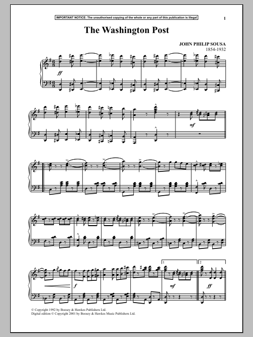 John Philip Sousa The Washington Post sheet music notes and chords. Download Printable PDF.