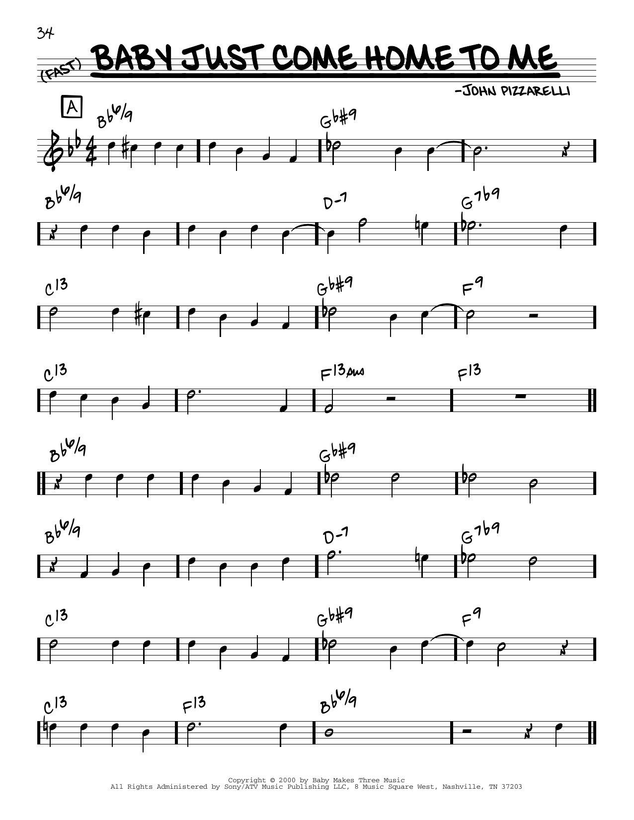 John Pizzarelli Baby Just Come Home To Me sheet music notes and chords. Download Printable PDF.