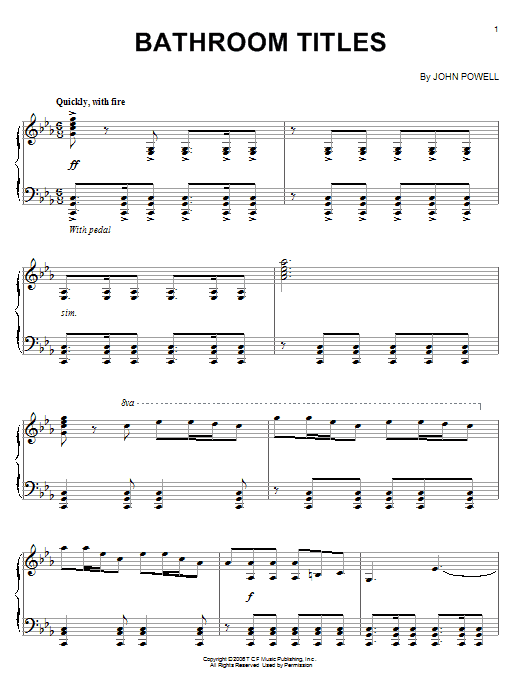 John Powell Bathroom Titles sheet music notes and chords. Download Printable PDF.