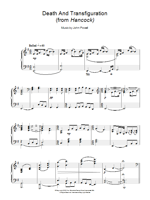 John Powell Death And Transfiguration (from Hancock) sheet music notes and chords. Download Printable PDF.