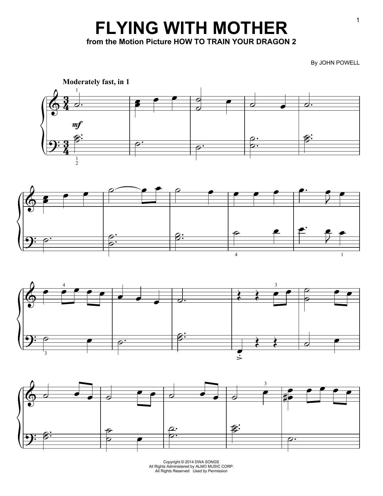 John Powell Flying With Mother (from How to Train Your Dragon) sheet music notes and chords