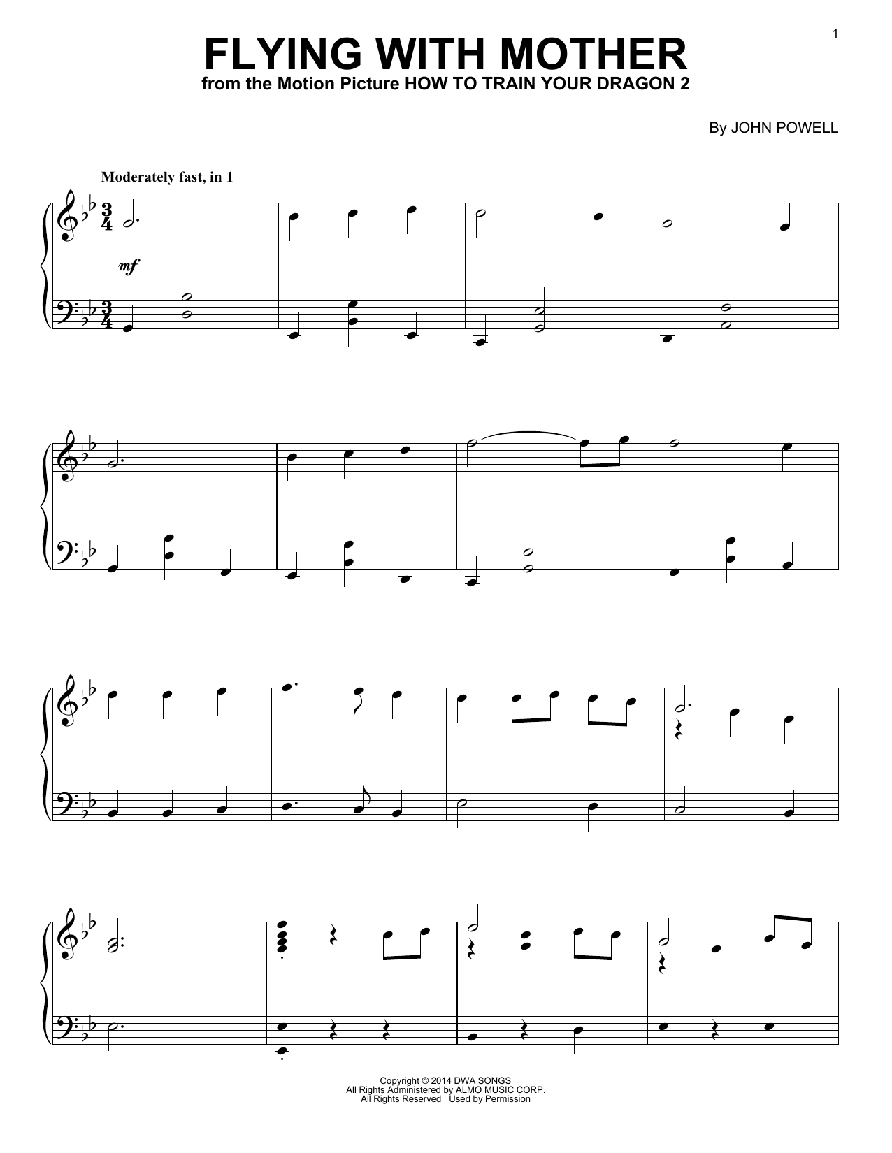 John Powell Flying With Mother From How To Train Your Dragon 2 Sheet Music Pdf Notes Chords Children Score Piano Solo Download Printable Sku 157384