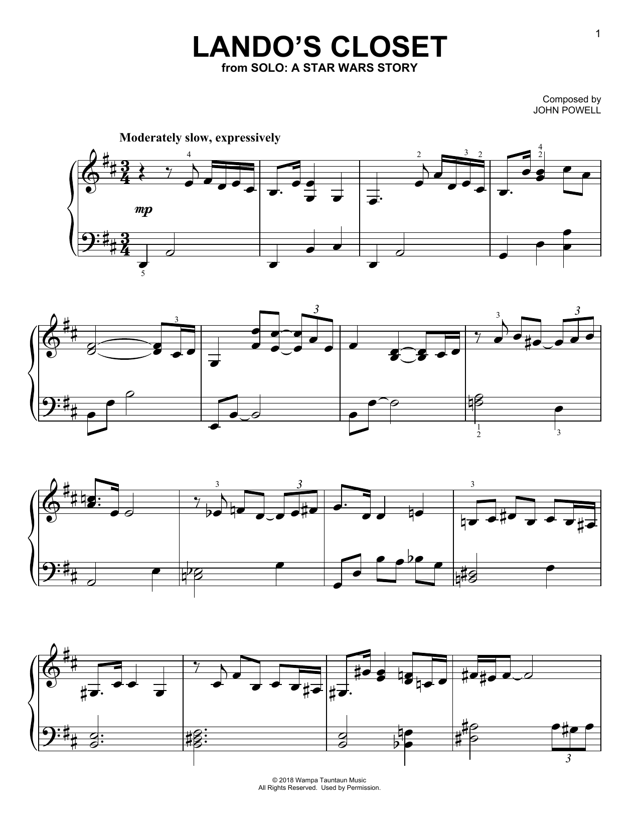 John Powell Lando's Closet (from Solo: A Star Wars Story) sheet music notes and chords
