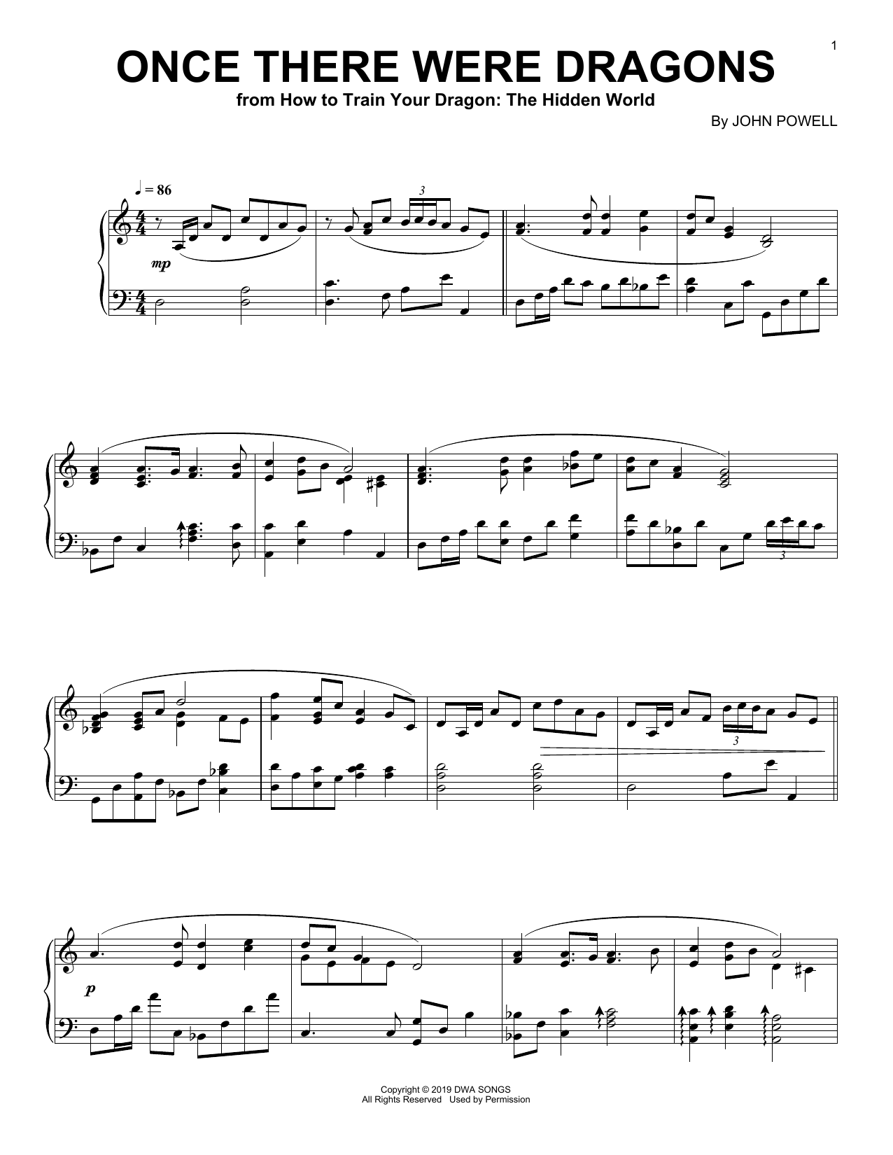 John Powell Once There Were Dragon (from How to Train Your Dragon: The Hidden World) sheet music notes and chords