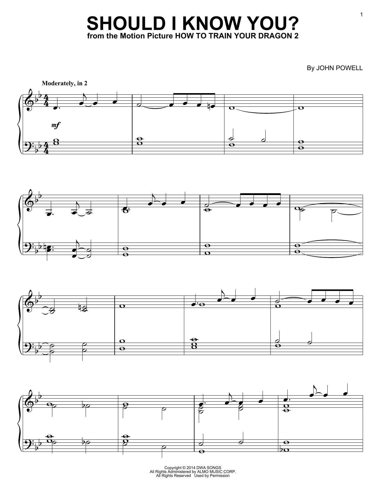 John Powell Should I Know You? (from How to Train Your Dragon) sheet music notes and chords. Download Printable PDF.