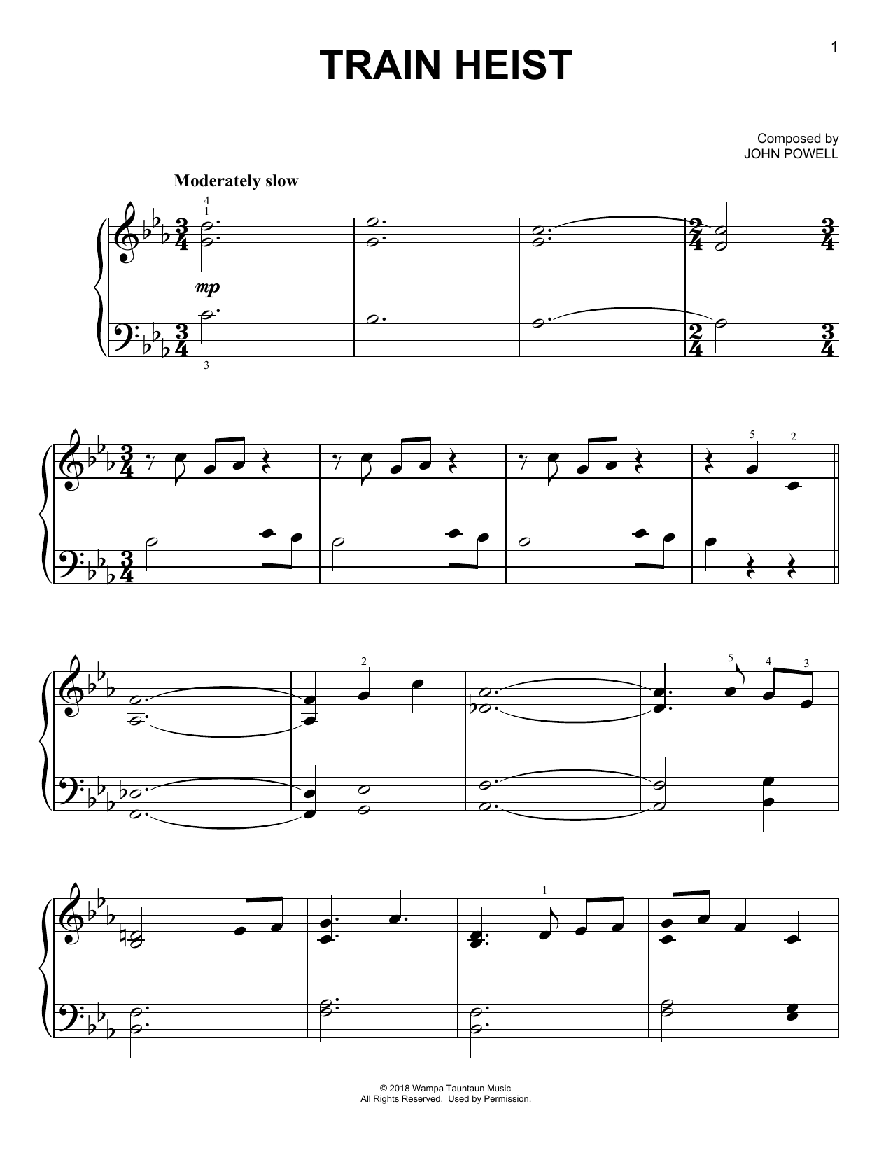 John Powell Train Heist (from Solo: A Star Wars Story) sheet music notes and chords