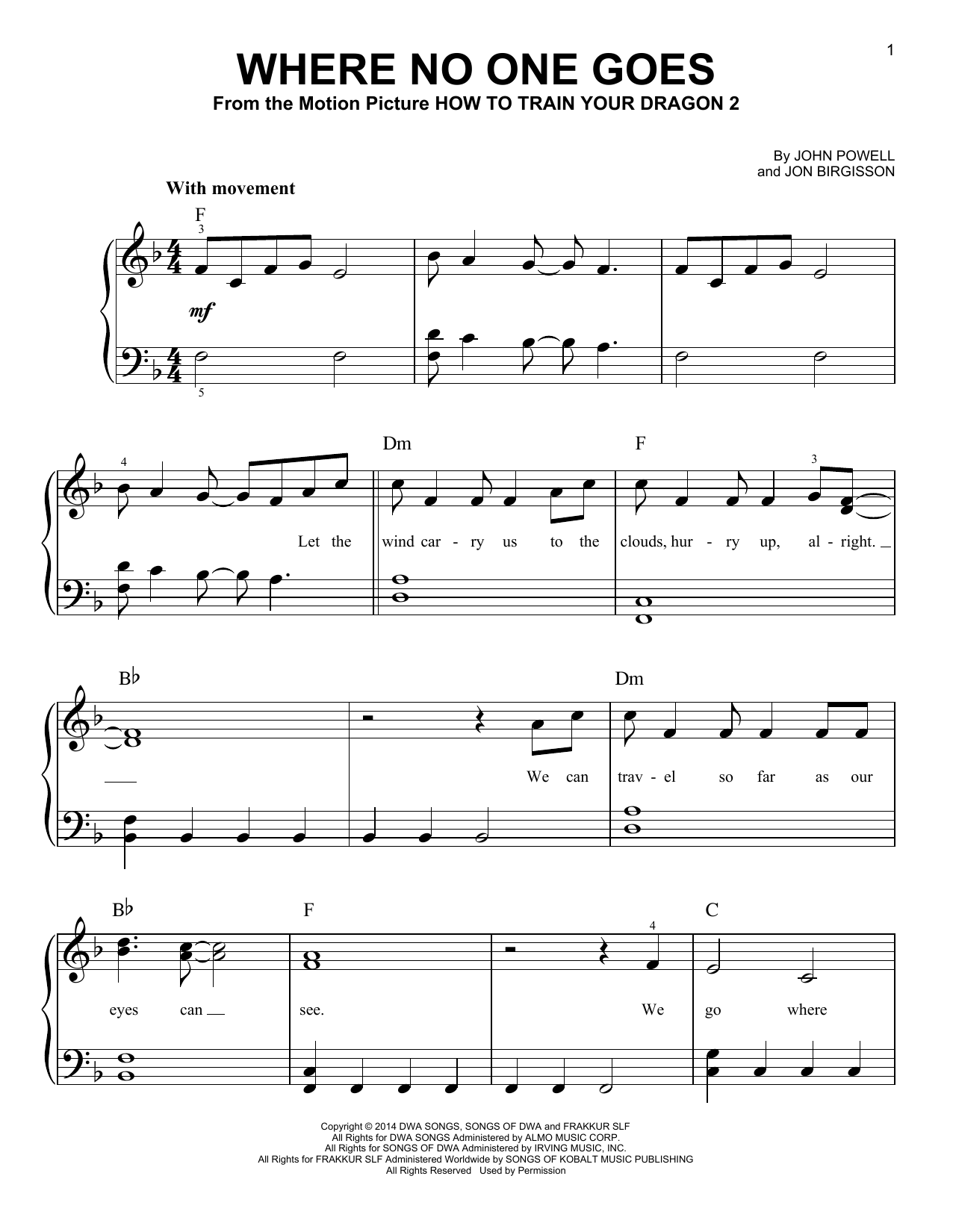 John Powell Where No One Goes From How To Train Your Dragon 2 Sheet Music Pdf Notes Chords Children Score Easy Piano Download Printable Sku 419822