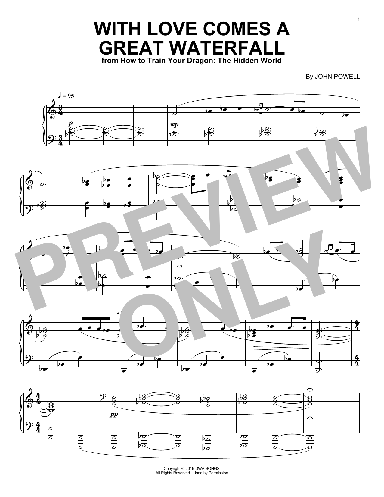 John Powell With Love Comes A Great Waterfall (from How to Train Your Dragon: The Hidden World) sheet music notes and chords. Download Printable PDF.