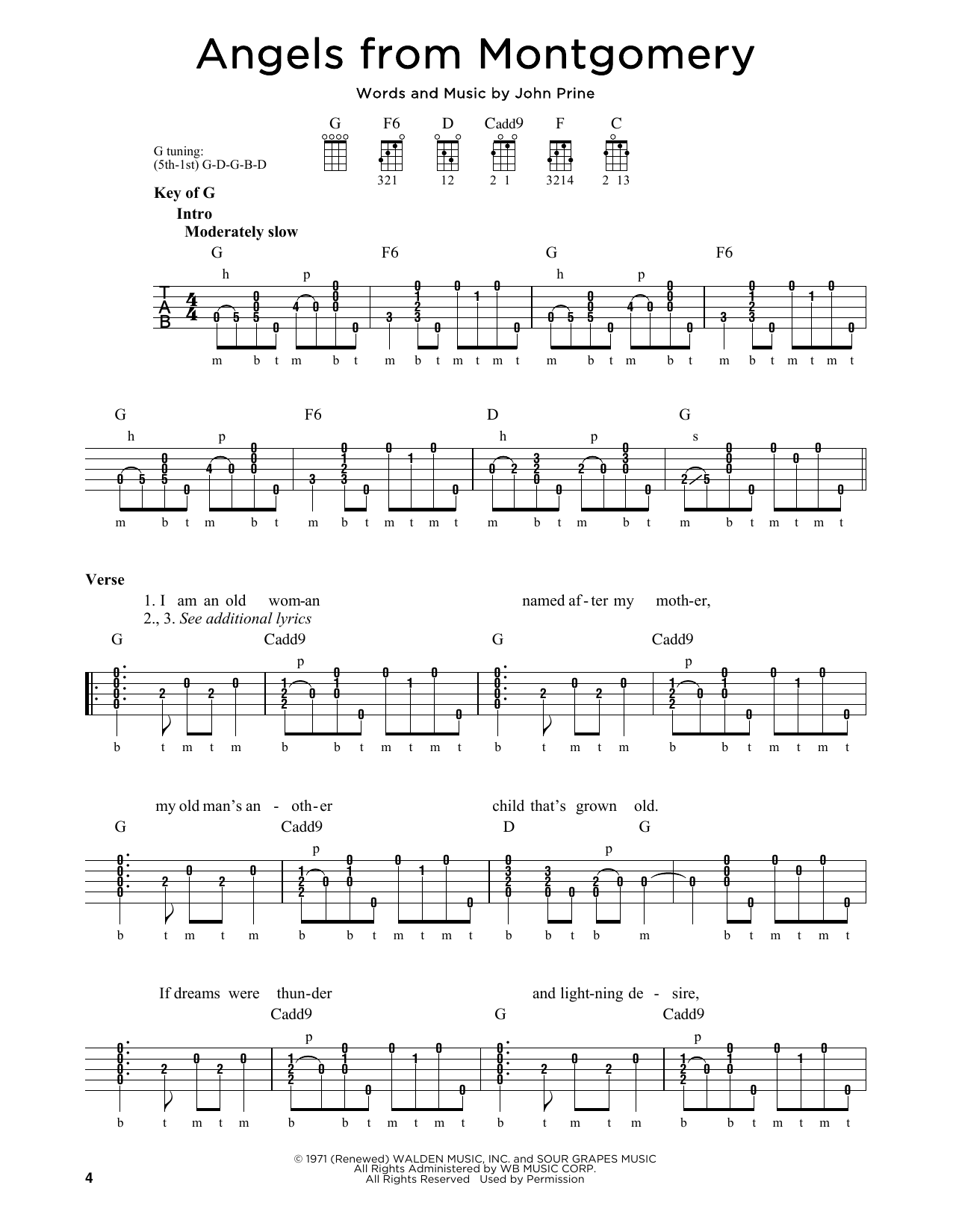 John Prine Angels From Montgomery sheet music notes and chords. Download Printable PDF.
