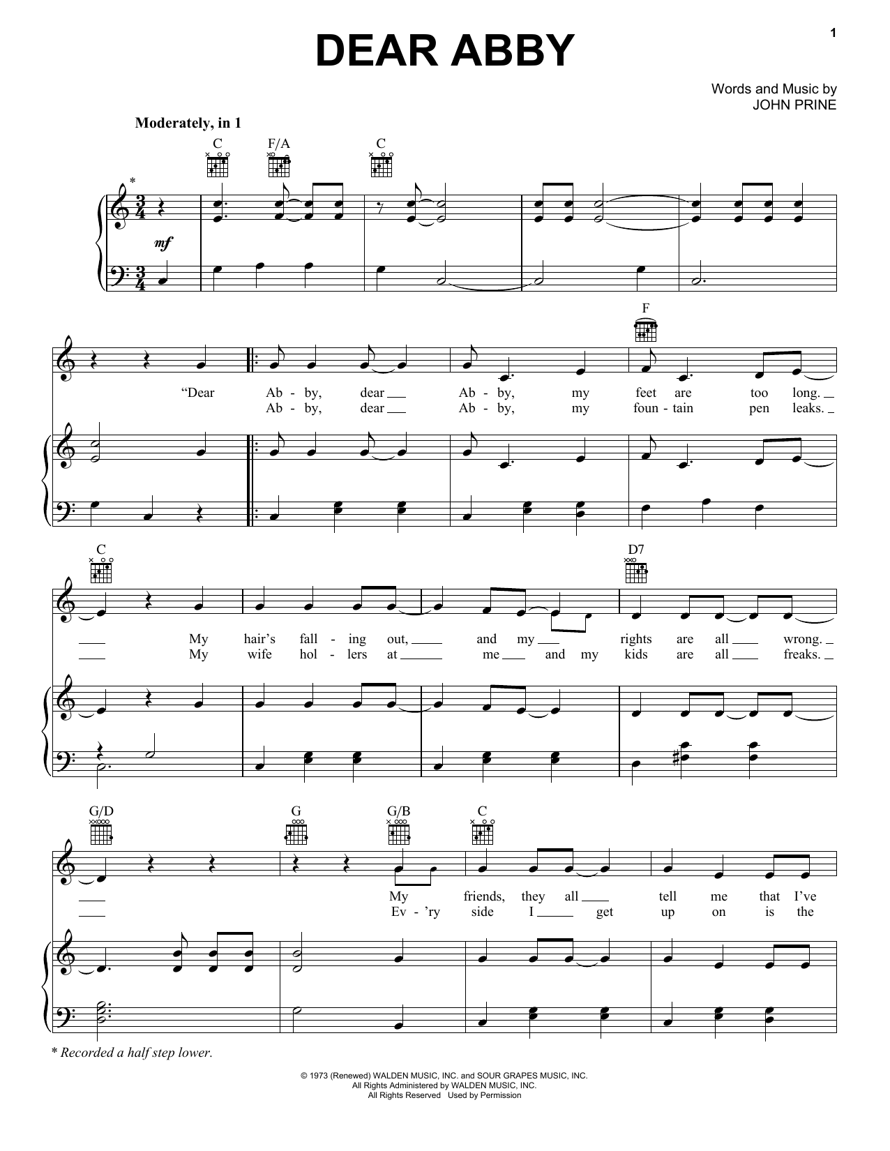 John Prine Dear Abby sheet music notes and chords. Download Printable PDF.