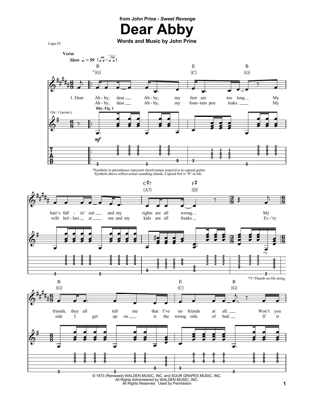 John Prine Dear Abby sheet music notes and chords