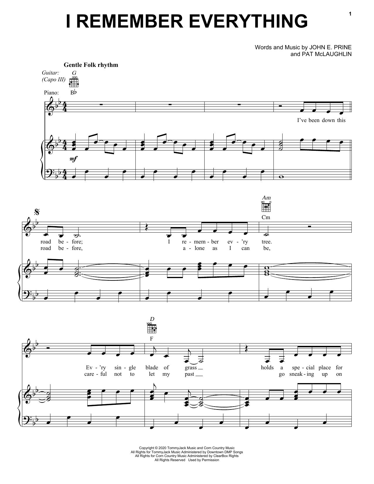 John Prine I Remember Everything sheet music notes and chords. Download Printable PDF.