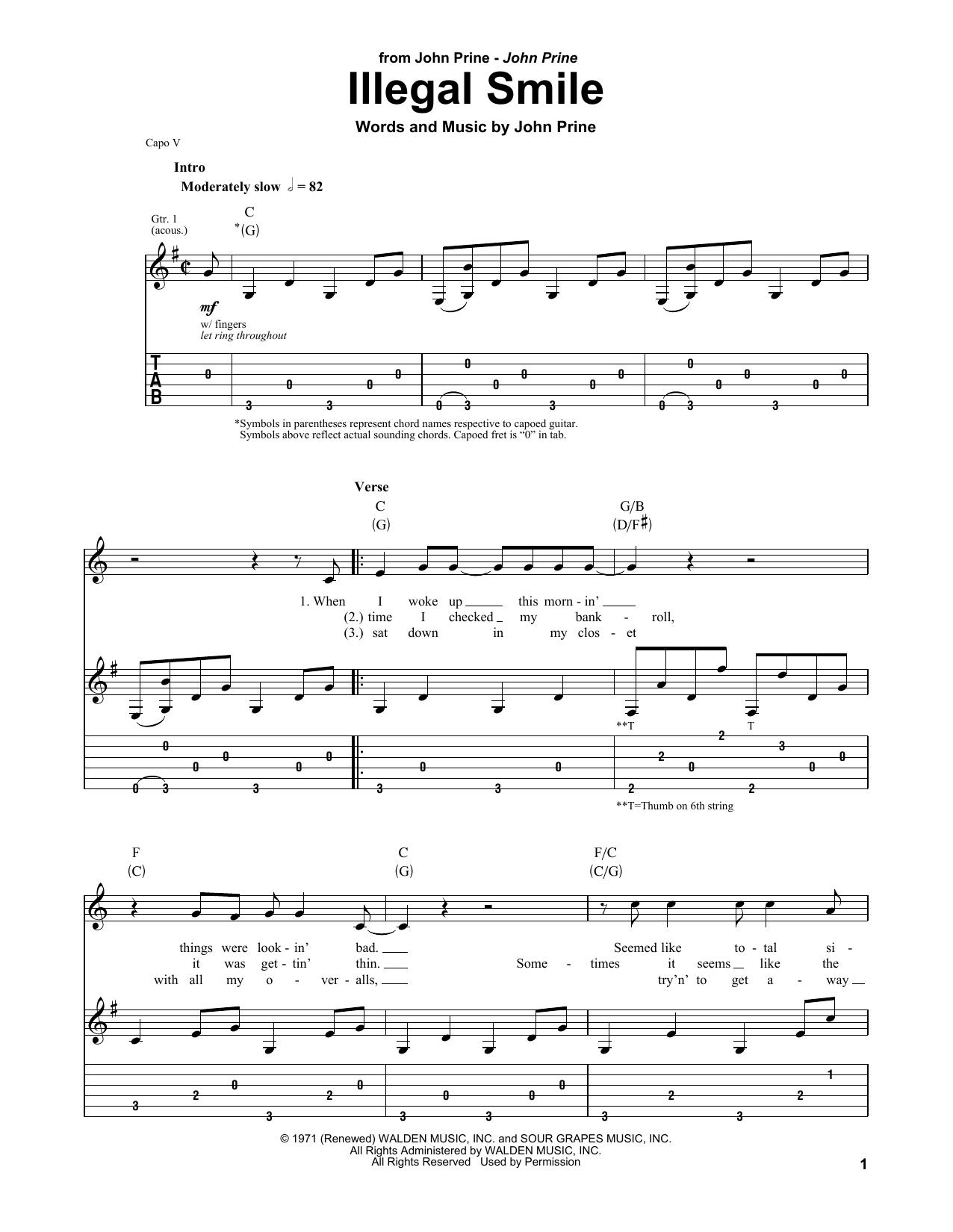 John Prine Illegal Smile sheet music notes and chords