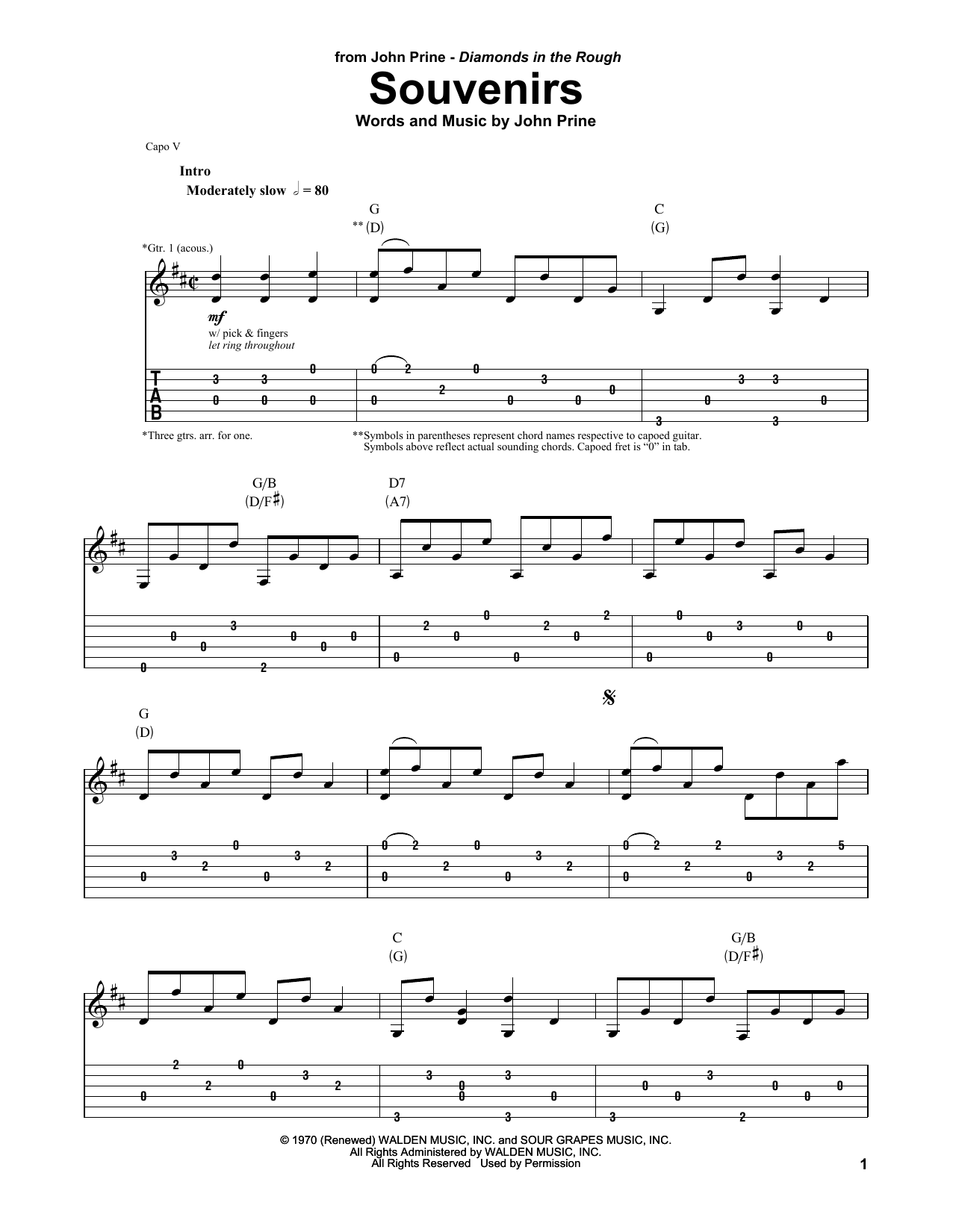 John Prine Souvenirs sheet music notes and chords