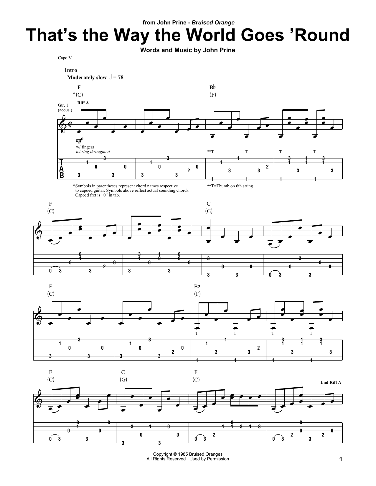John Prine That's The Way The World Goes 'Round sheet music notes and chords. Download Printable PDF.