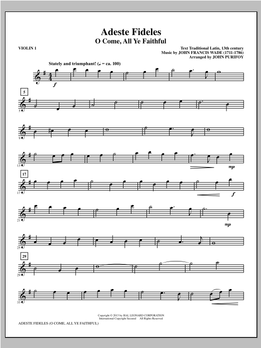 John Purifoy Adeste Fideles - Violin 1 sheet music notes and chords. Download Printable PDF.