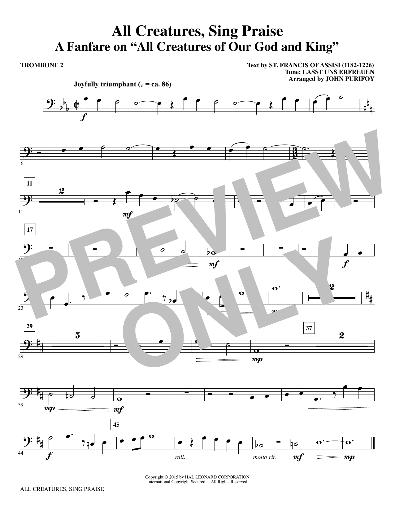 John Purifoy All Creatures, Sing Praise - Trombone 2 sheet music notes and chords. Download Printable PDF.