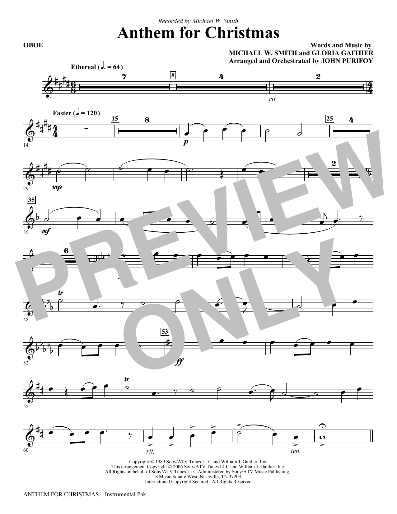 John Purifoy Anthem for Christmas - Oboe sheet music notes and chords. Download Printable PDF.