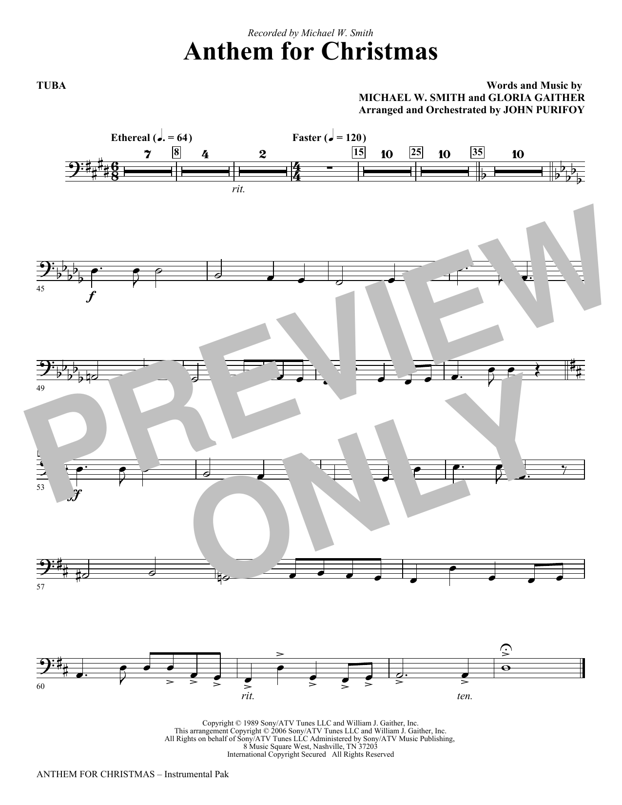 John Purifoy Anthem for Christmas - Tuba sheet music notes and chords. Download Printable PDF.