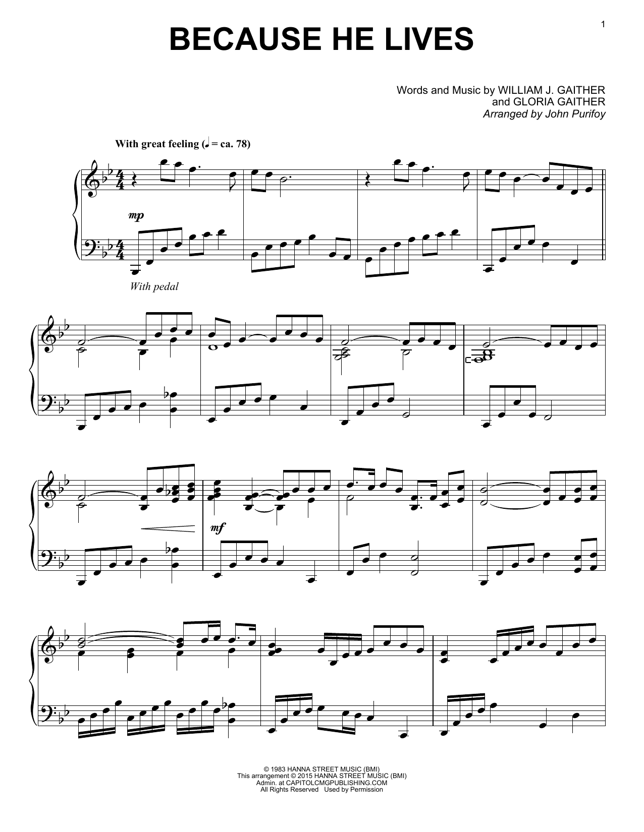 Gaither Vocal Band Because He Lives sheet music notes and chords. Download Printable PDF.
