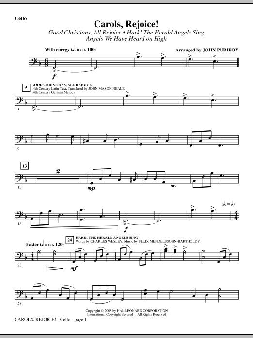 John Purifoy Carols, Rejoice! (Medley) - Cello sheet music notes and chords. Download Printable PDF.