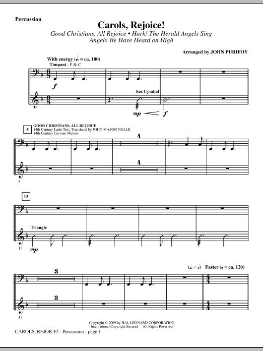 John Purifoy Carols, Rejoice! (Medley) - Percussion sheet music notes and chords. Download Printable PDF.