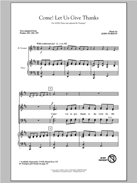 John Purifoy Come! Let Us Give Thanks sheet music notes and chords. Download Printable PDF.