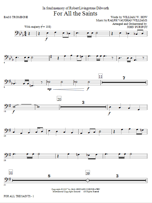 John Purifoy For All The Saints - Bass Trombone sheet music notes and chords. Download Printable PDF.