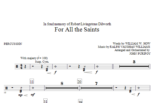 John Purifoy For All The Saints - Percussion sheet music notes and chords. Download Printable PDF.
