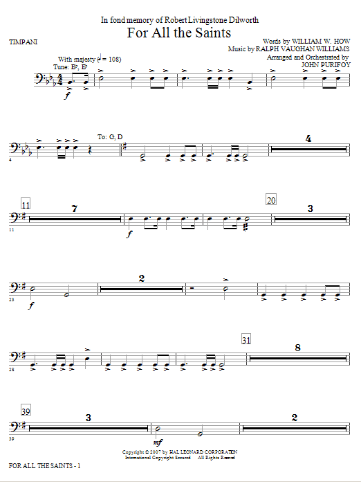 John Purifoy For All The Saints - Timpani sheet music notes and chords. Download Printable PDF.