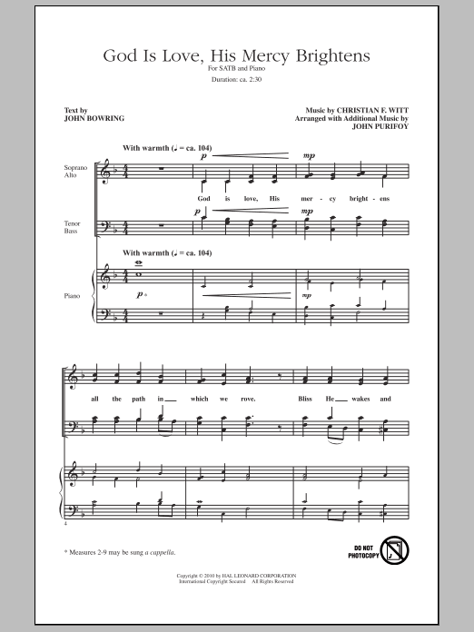 John Purifoy God Is Love, His Mercy Brightens sheet music notes and chords. Download Printable PDF.