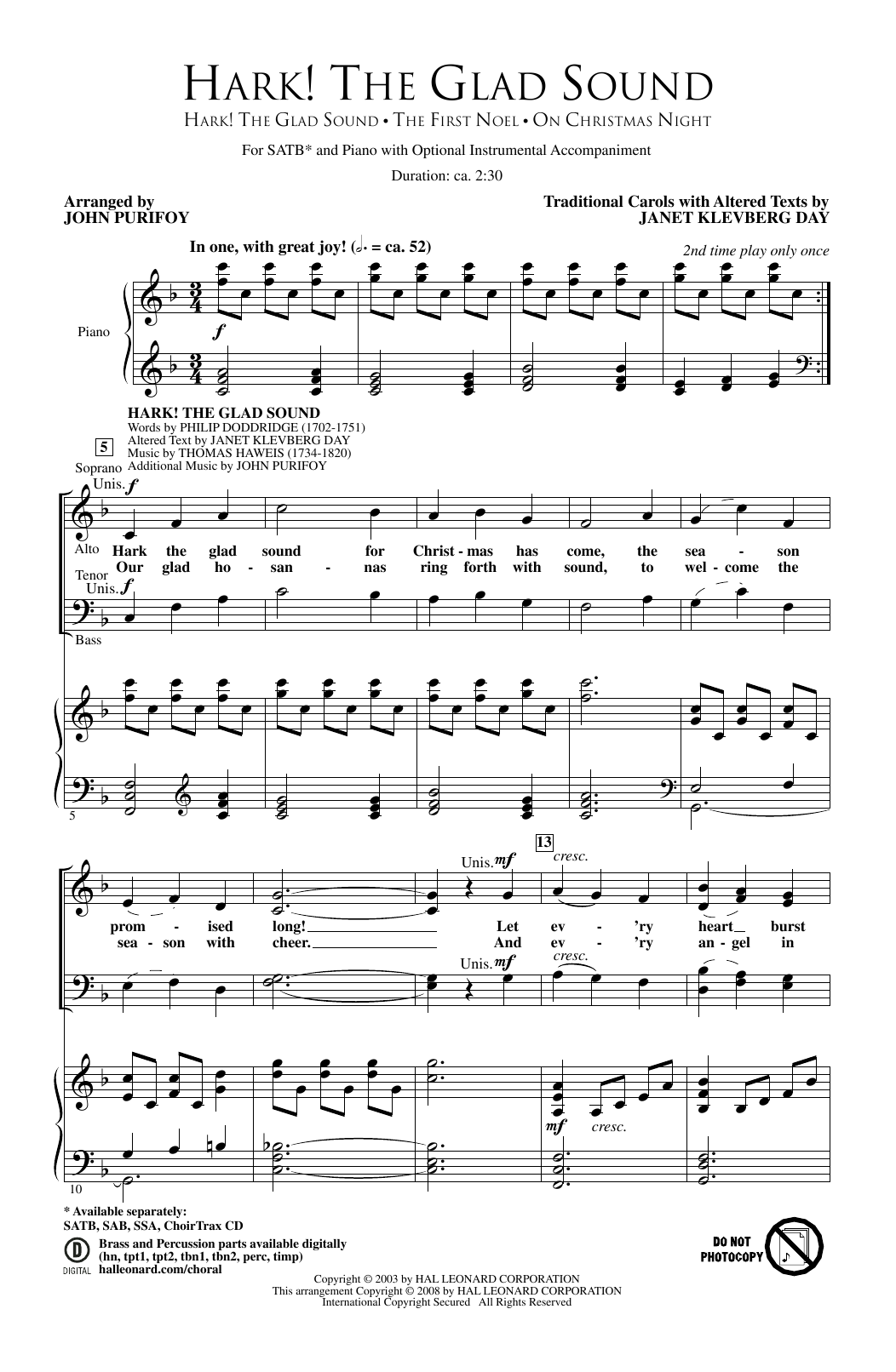 John Purifoy Hark! The Glad Sound sheet music notes and chords. Download Printable PDF.
