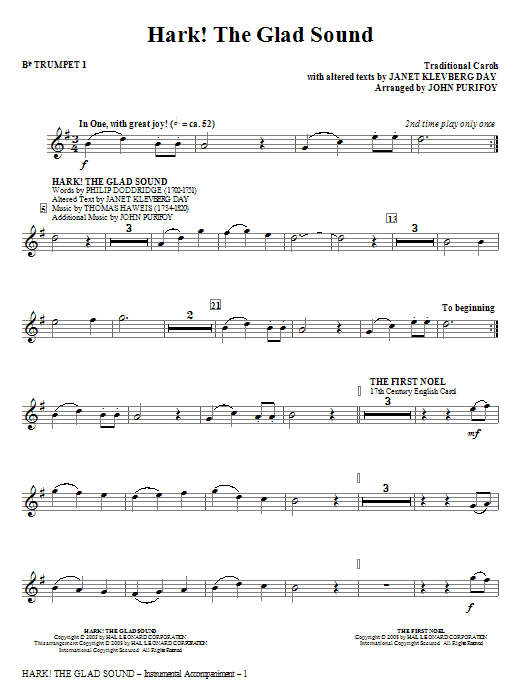 John Purifoy Hark! The Glad Sound (Medley) - Bb Trumpet 1 sheet music notes and chords. Download Printable PDF.